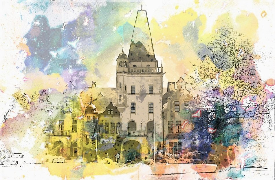 colorful drawing of Hotel Castle in Germany