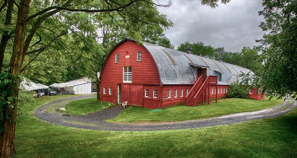 big red barn on a ranch