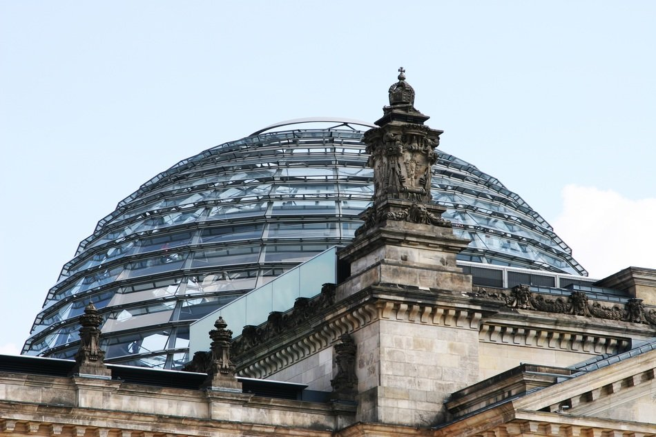 historical Bundestag Building glass dome at sky in germany, Berlin