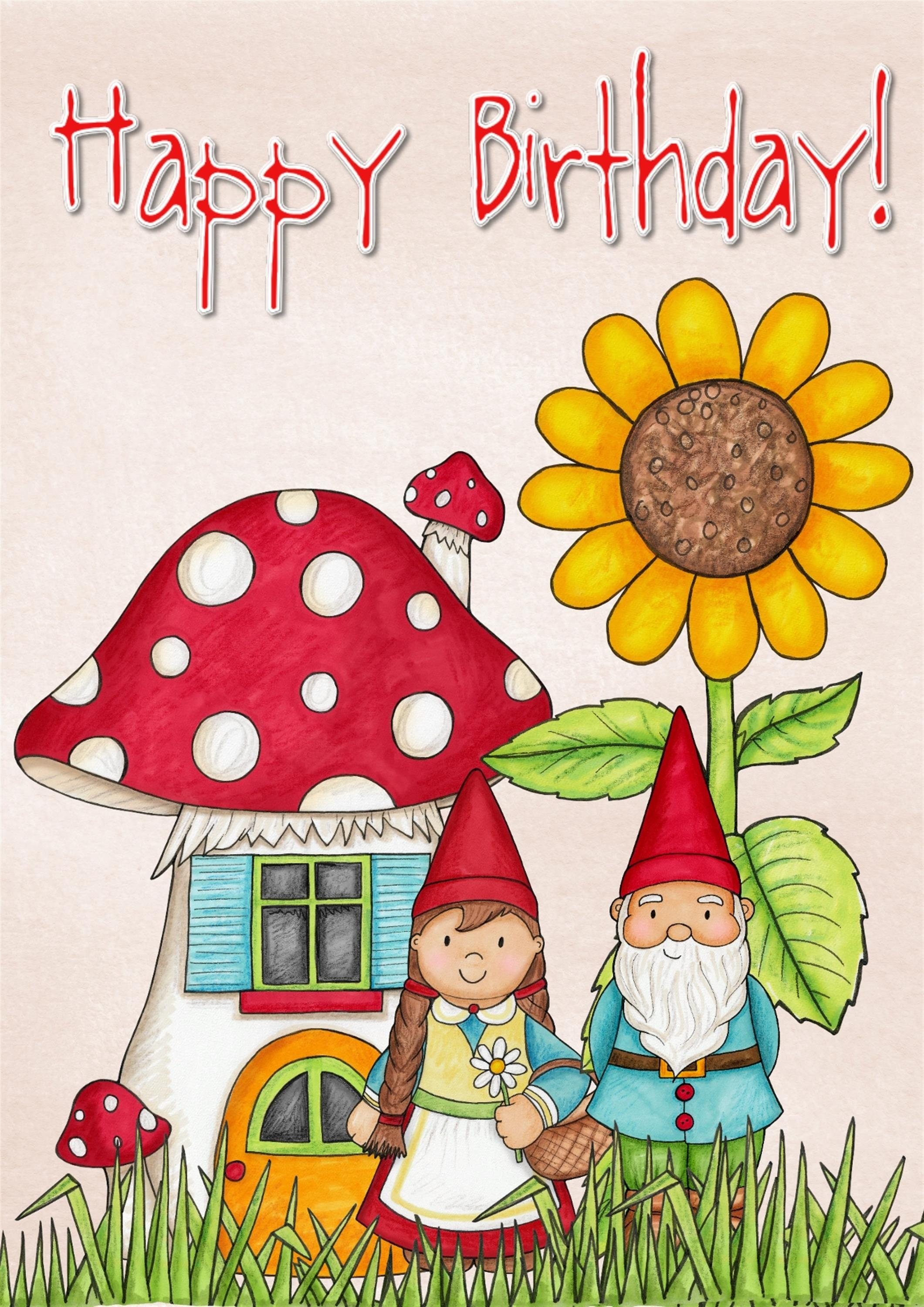 Happy Birthday Greeting Card With Gnoms And Flowers Free Image