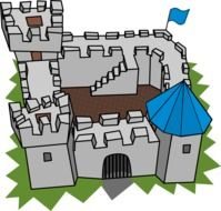 Cartoon medieval fortress, colorful illustration