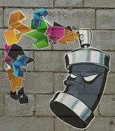 graffiti on the wall in the form of a spray can with paint
