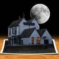 Digital house under the moon clipart