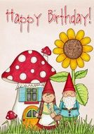 Happy Birthday greeting card with gnoms and flowers