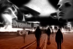 silhouettes in dreamland city