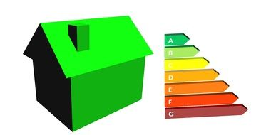 green house and Energy Efficiency scale, icon