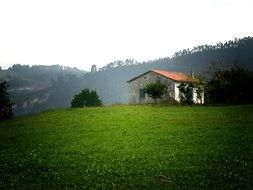 green meadow and village house in Cantabria