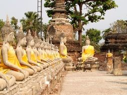 buddha statues at alley with thailand