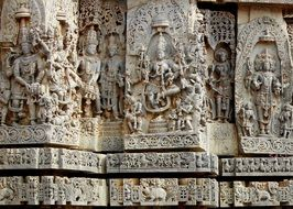 bas-relief on the walls of the city of halebeedu in india