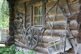 wooden house and old craft tools