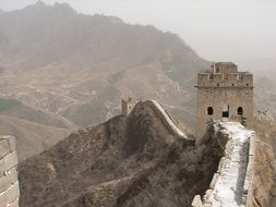 panoramic view of the Great Wall of China in haze