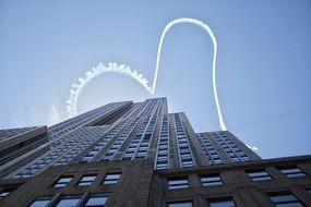 aircraft trail over the Empire State Building