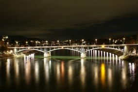 panoramic view of the bridge over the rhine in basel at night