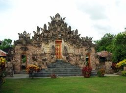 temple with statues in indonesia