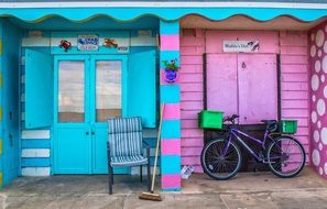 blue and pink beach Hut