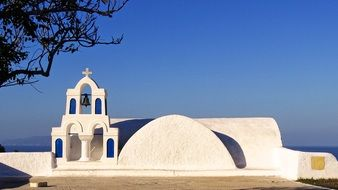 white church building in greece