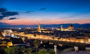 Cityscape of Florence city at the sunset