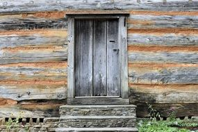 gray wooden door in a wooden house
