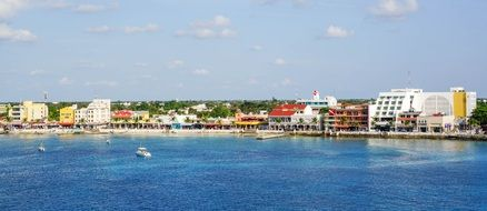 colorful buildings at beach on coastline, Mexico, Cozumel