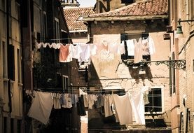 clothes on clothesline on a city street