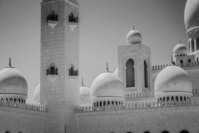 Mosque Abu Dhabi black white