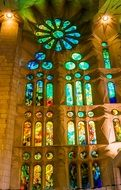 stained glass of sagrada familia cathedral