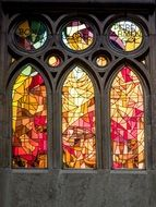 stained glass window in yellow-red