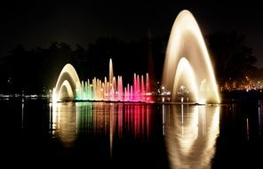Lighting Ibirapuera Park at the night time