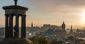 gorgeous view of old city from Calton Hill at sunset, uk, scotland, Edinburgh