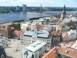 Panorama of buildings near the embankment in Riga, Latvia