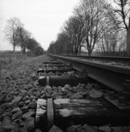 Railway at countryside, black and white