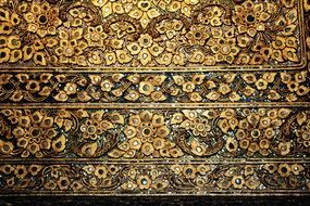 mosaic wood gold pattern tiles