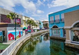 colorful canal in cancun city in mexico