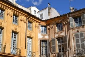 facades of buildings in the style of Provence in the South of France