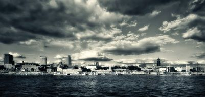 black and white panorama of hamburg from the river