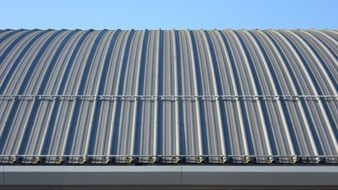 Sheet metal roof on a building