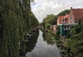 water channel along houses in the netherlands