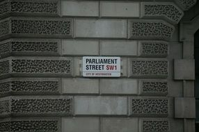 parliament street sign in London