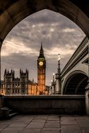 view of the big ben through the arch