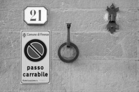 signs on a building in florence