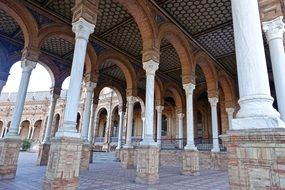 columns and arches of the palace in Seville