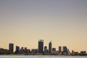 Perth city panorama view from the river, Australia