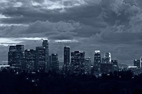 Beautiful black and white landscape of Los Angeles