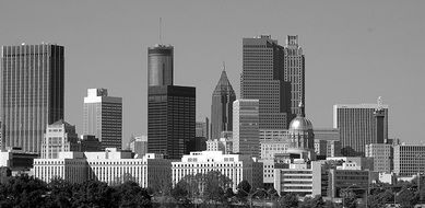 panoramic view of skyscrapers in Atlanta in black and white image
