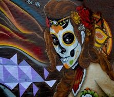 girl skull street art drawing