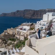 white buildings on the island of santorini