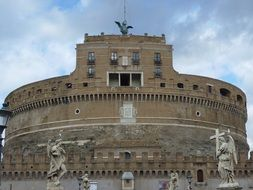 Landscape of ancient Castel Sant\'angelo in Rome