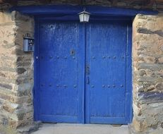 double blue doors entrance