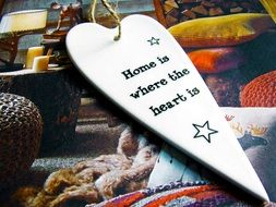 home decor heart with inscription