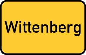 yellow city signpost Lutherstadt Wittenberg